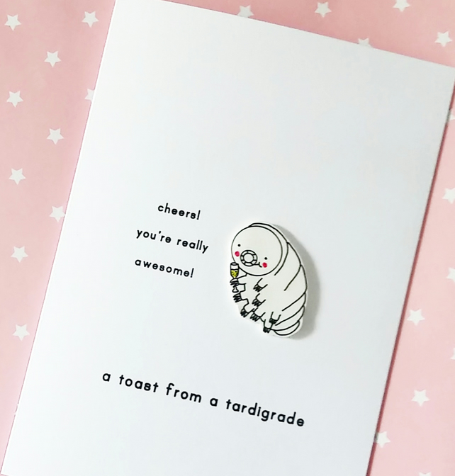 congratulations card - a toast from a tardigrade - personalised option