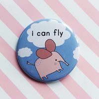 badge -  i can fly - elephant -  58mm pin badge