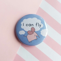 badge - i can fly - elephant  -  38mm round pin badge
