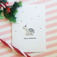 christmas card - merry christmas - george the tortoise - handmade card