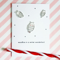 woodlice in a winter wonderland - handmade christmas card