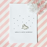 christmas card - walrus in a winter wonderland - handmade card