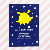 postcard - dumbo octopus - a6 postcard