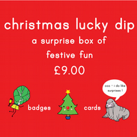 christmas lucky dip box -  christmas badges and cards