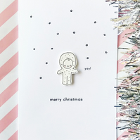 christmas card - snow baby -handmade card