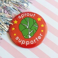 christmas badge -  sprout supporter - 58mm pin badge