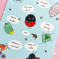 postcard - inspirational insects - a6 postcard