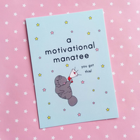 postcard - a motivational manatee - a6 postcard