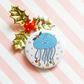 moon jellyfish christmas badge (white) -  45mm handmade pin badge