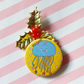 moon jellyfish christmas badge (yellow) -  45mm handmade pin badge