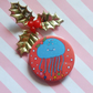 moon jellyfish christmas badge (red) -  45mm handmade pin badge