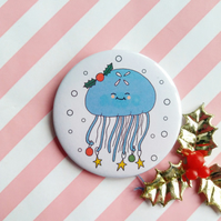 moon jellyfish badge (white) -  58mm handmade pin badge  - christmas badge