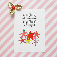 starfish of wonder christmas postcard & envelope - christmas postcard