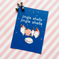 jingle shells christmas postcard & envelope - christmas postcard