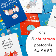 pick 'n' mix christmas postcards - set of five