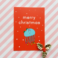 moon jellyfish postcard & envelope - christmas postcard