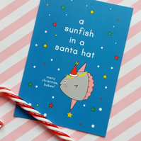 sunfish in a santa hat postcard & envelope - christmas postcard