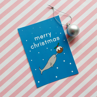 christmas narwhal postcard & envelope - christmas postcard