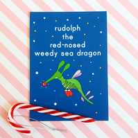 rudolph weedy sea dragon christmas postcard & envelope - christmas postcard