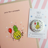 party like a pineapple - card and badge set