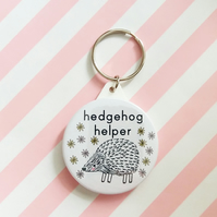 hedgehog helper keyring  - handmade 45mm hedgehog animal keyring