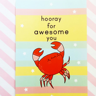 hooray for awesome you - motivational postcard - positivity card