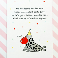 hooded seal postcard - birthday card - wildlife postcard
