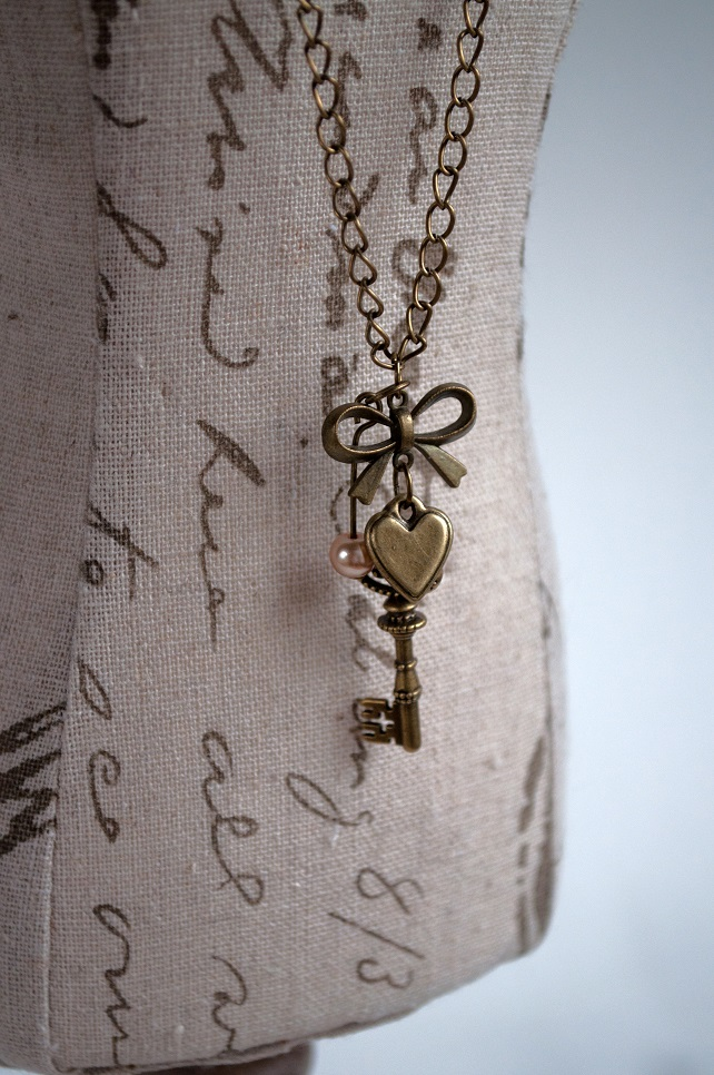 SALE Key to my Heart Necklace with Bronze Charms and Pearl