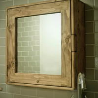 Bathroom cabinet, mirror, 2 shelves, eco friendly wood, handmade in Somerset