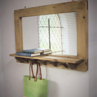 Mirror with shelf & 5 upcycled hanger hooks, in eco friendly wood from Somerset
