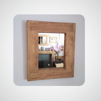 pale wood wall mirror, modern rustic, reclaimed and eco wood frame, handmade UK