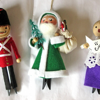PEG DOLL TREE DECORATIONS, Set of 3