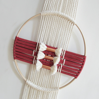 MACRAME HOOP WALL HANGING Russet and Ecru