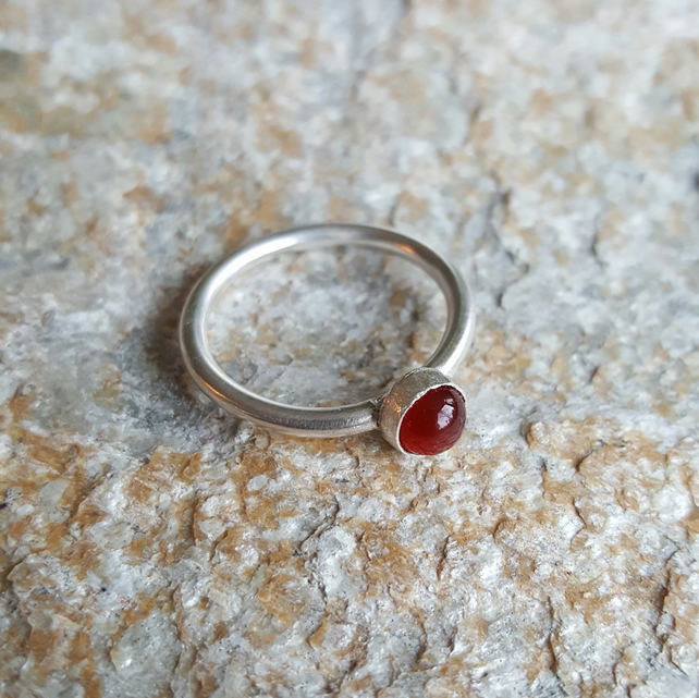 Sterling Silver stacking ring with Carnelian Gemstone