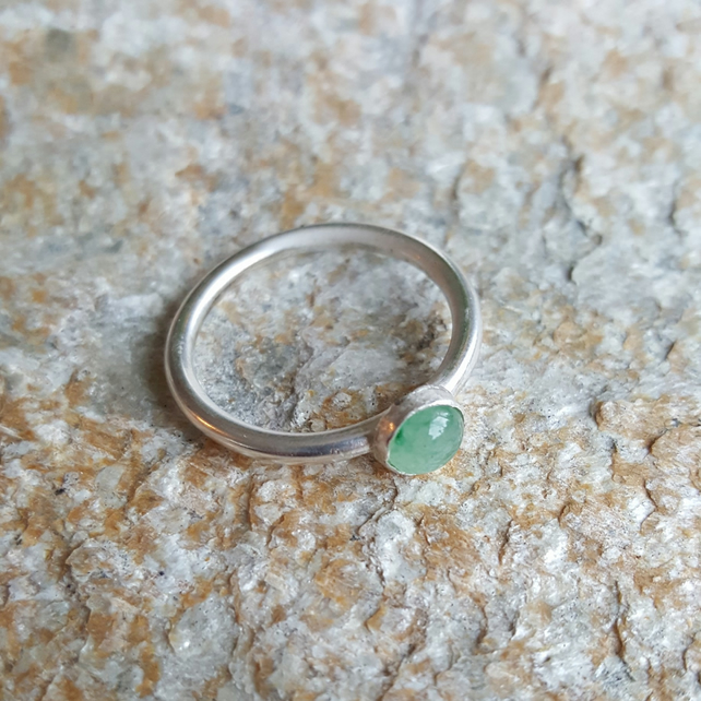 Sterling Silver stacking ring with Green Aventurine
