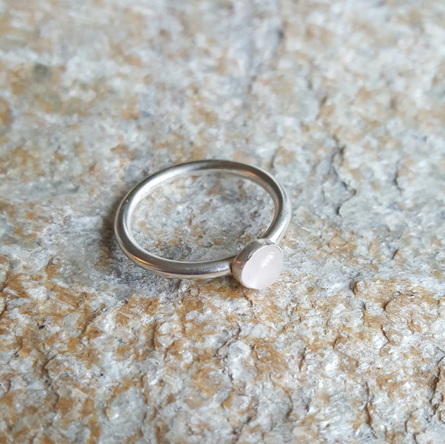 Sterling Silver stacking ring with Rose Quartz