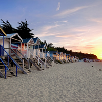 Wells Beach Huts at Sunset - Landscape Photography 8 X 6 Wall Art Mounted Print