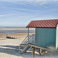 Beach Huts from Behind - Landscape Photography 8 X 6 Wall Art Mounted Print
