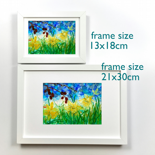 Framed daffodils prints, alcohol ink paintings, spring gifts, easter