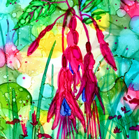 Fuchsia digital art print, flower, floral, garden lover, alcohol inks painting