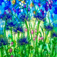 Soft & Spiky digital art print, floral gift, flowers, blue flowers, alcohol ink