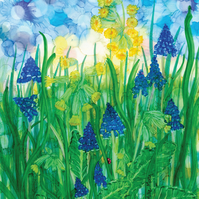 Cowslips & Grape Hyacinths art print, flower, floral, spring, alcohol inks