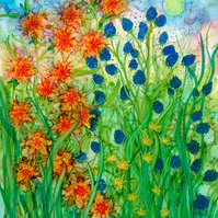 Summer Meadow digital art print, flower, floral, nature, summer, alcohol inks