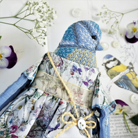 Elodie, A Hand Embroidered Blue Tit Folk Art Doll