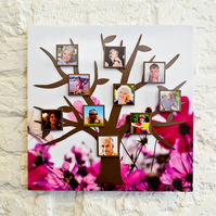 Contemporary Magnetic Tree Photo Frame Kit -Pink Flowers