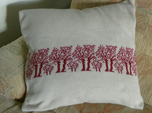 Handmade Machine Knitted Cushion Pillow Covers  - Trees - Flowers - Animals -