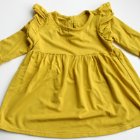 Darling Baby Dress in Mustard with Ruffle shoulders