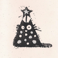 Tree Cat - lino cut print Christmas card (silver)