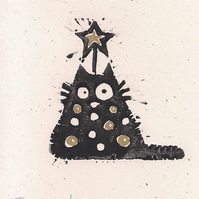 Tree Cat - lino cut print Christmas card (gold)