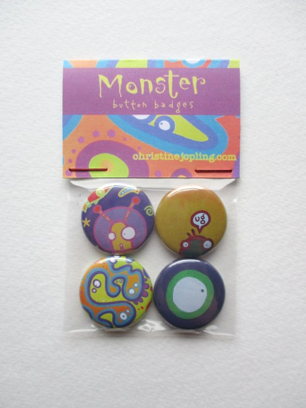 Set of 4 x 25mm metal button badges – Monsters